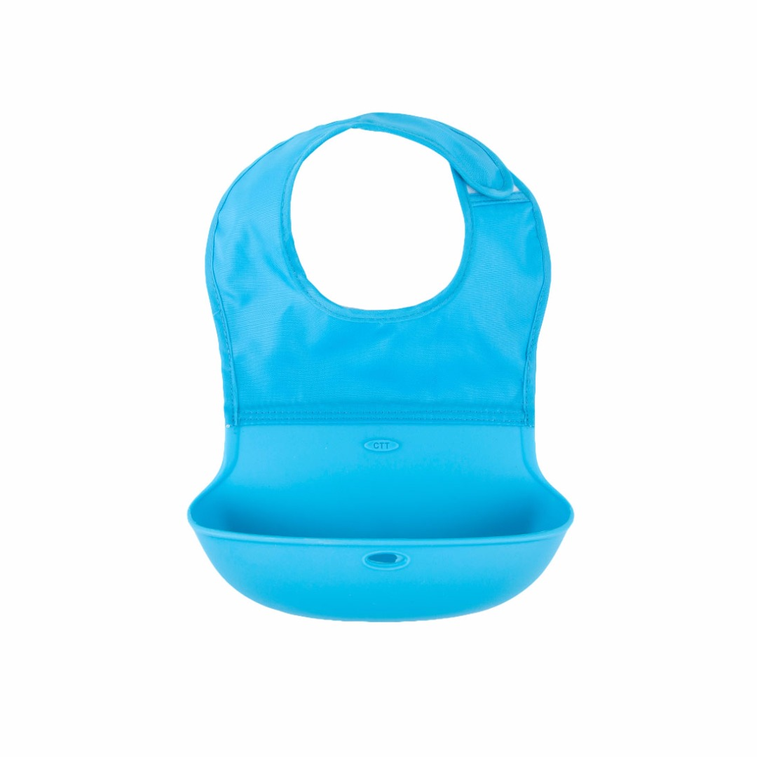 Great Baby Waterproof Washable Scentless Blue Silicone Food Bib