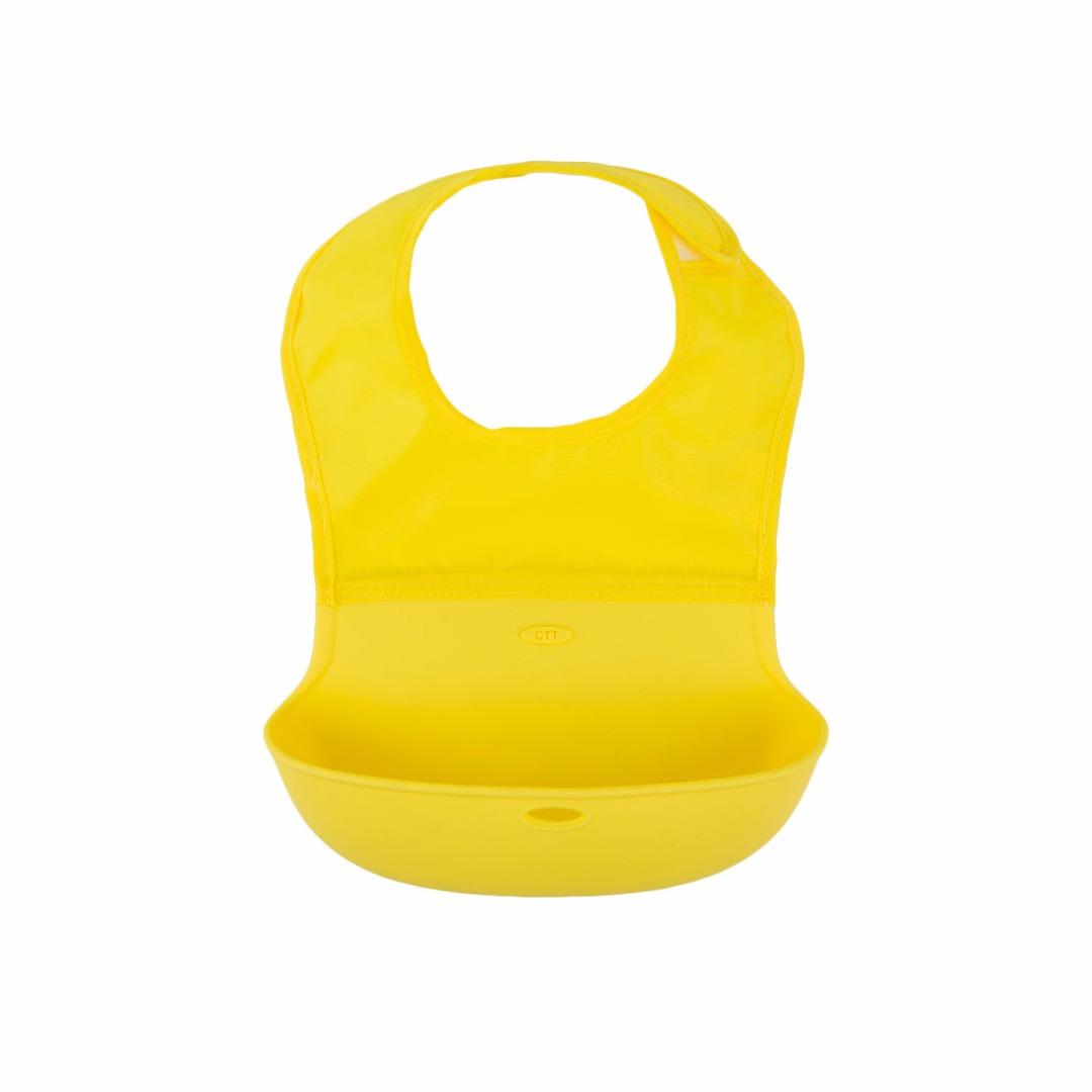 Great Baby Waterproof Washable Scentless Yellow Silicone Food Bib