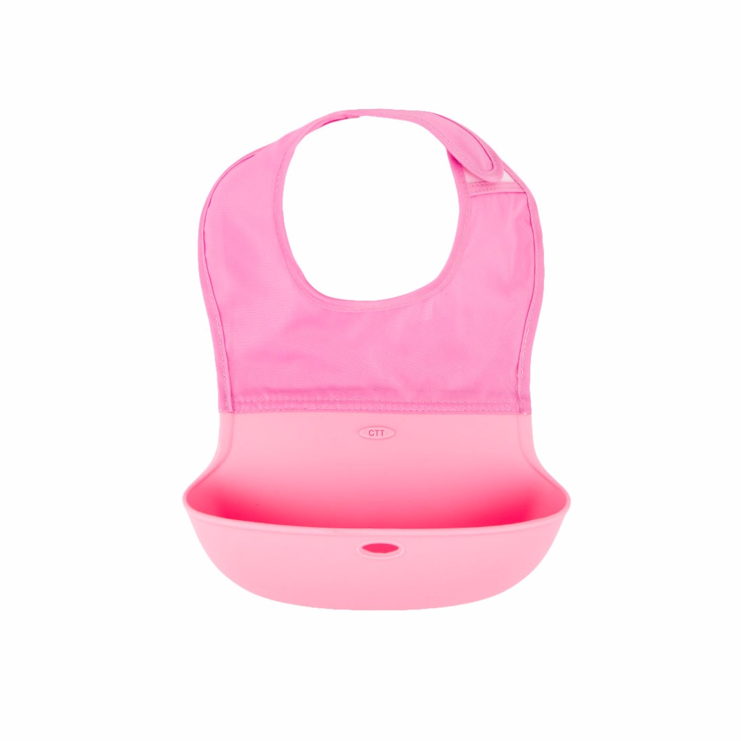 Great Baby Waterproof Washable Scentless Pink Silicone Food Bib