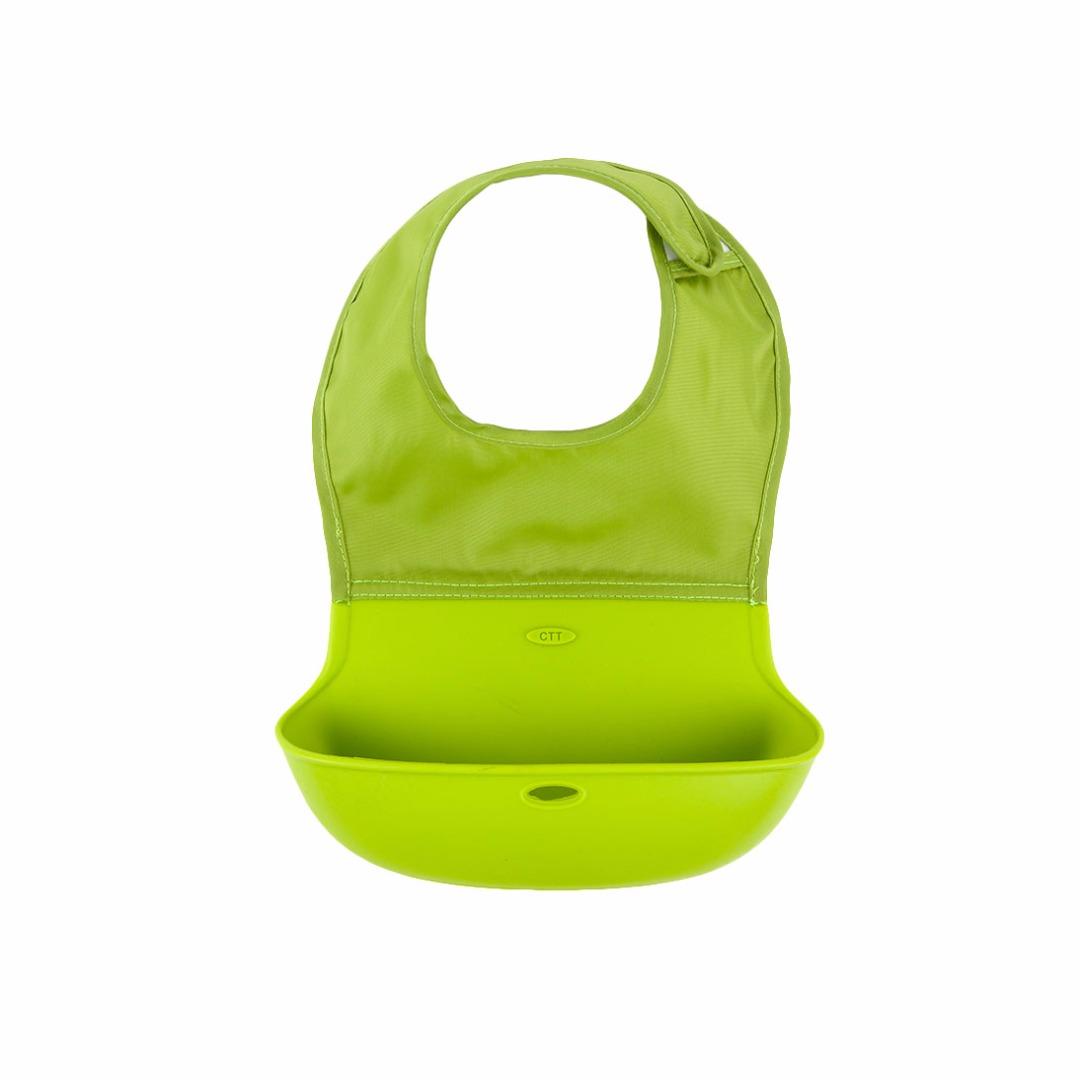 Great Baby Waterproof Washable Scentless Green Silicone Food Bib
