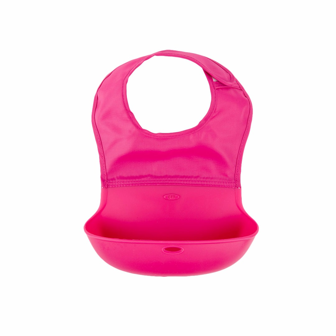 Great Baby Waterproof Washable Scentless Rose-red Silicone Food Bib