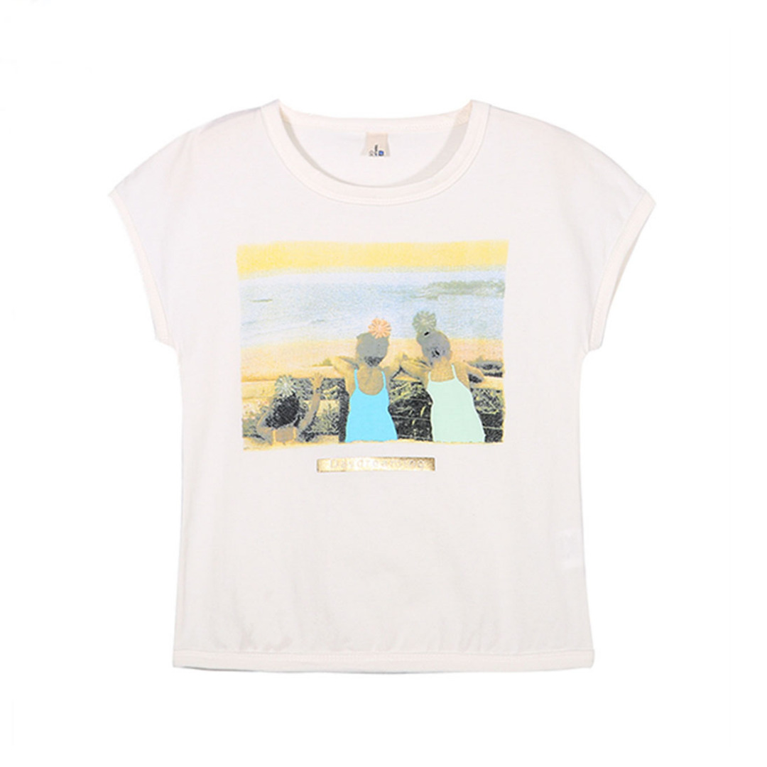 Girl's White Cotton Top Besties Forever Printed Tee