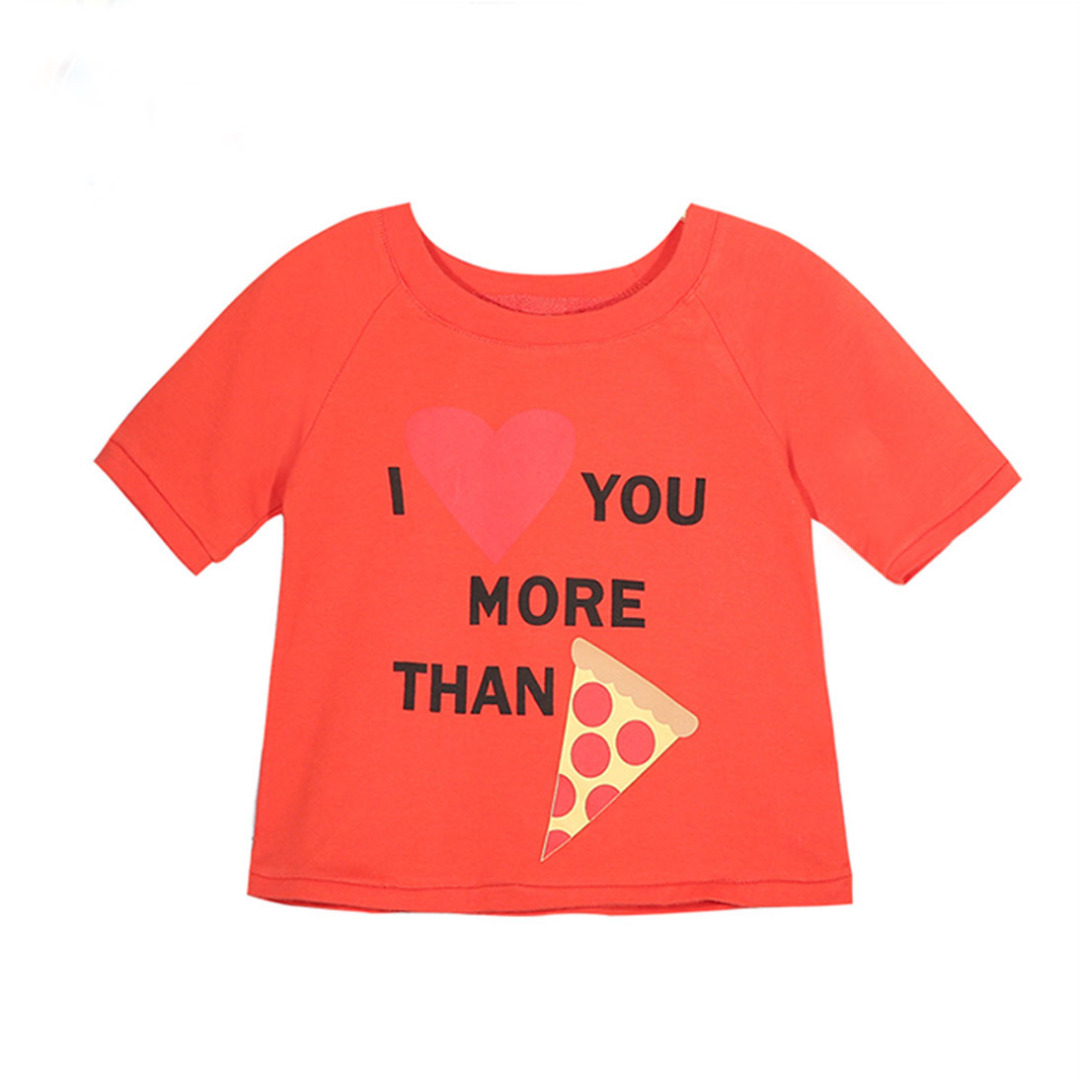 Girl's Red Cotton Top Pizza Printed Tee