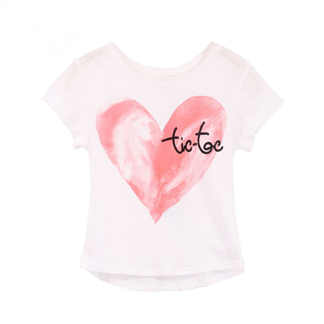 Girl's White Cotton Top Red Heart Tee
