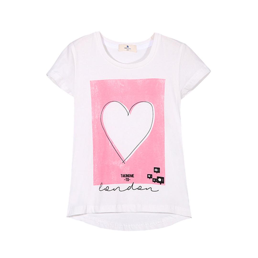 Girl's White Cotton Tee Heart Printed Tee