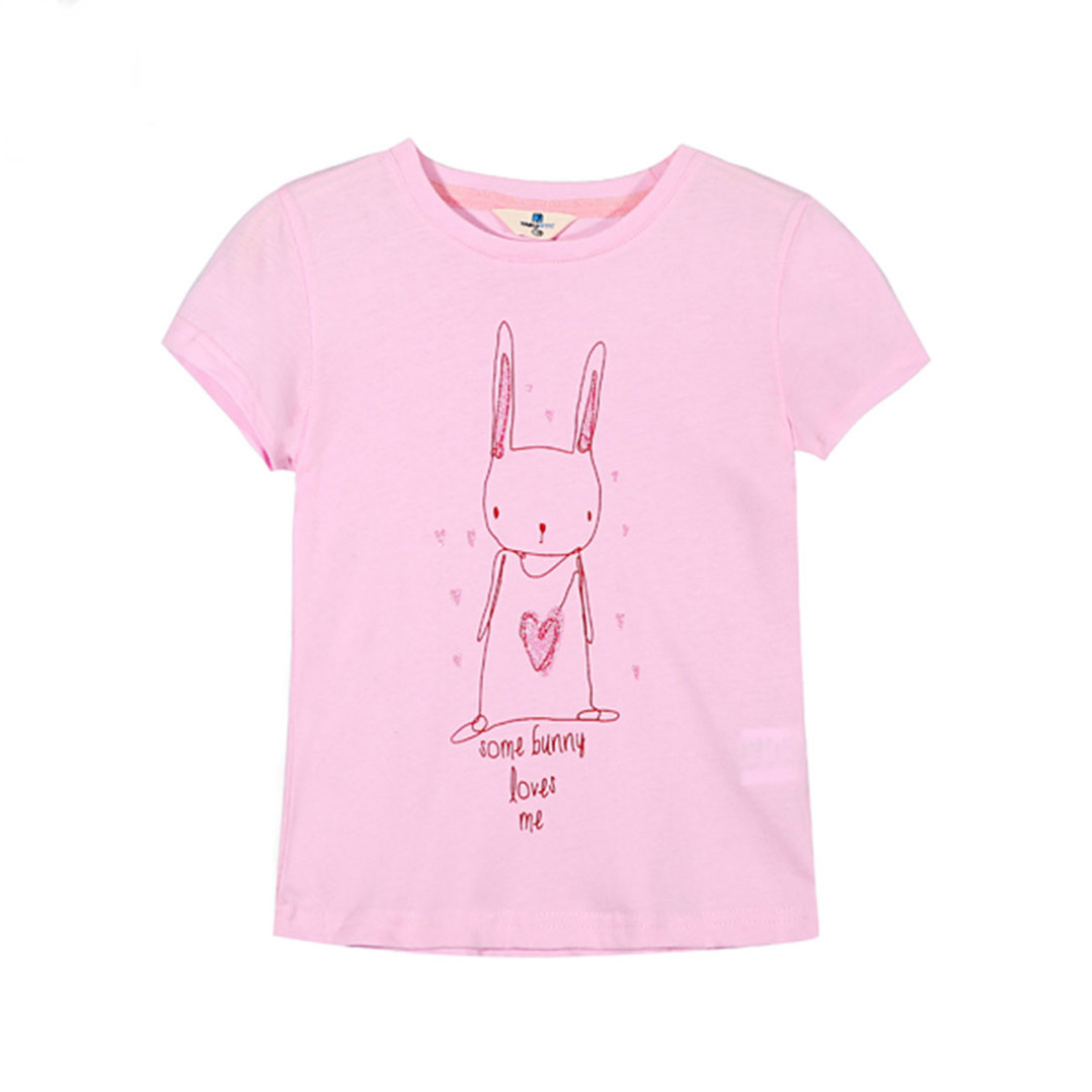 Girl's Pink Cotton Top Waiting-for-Love Bunny Tee