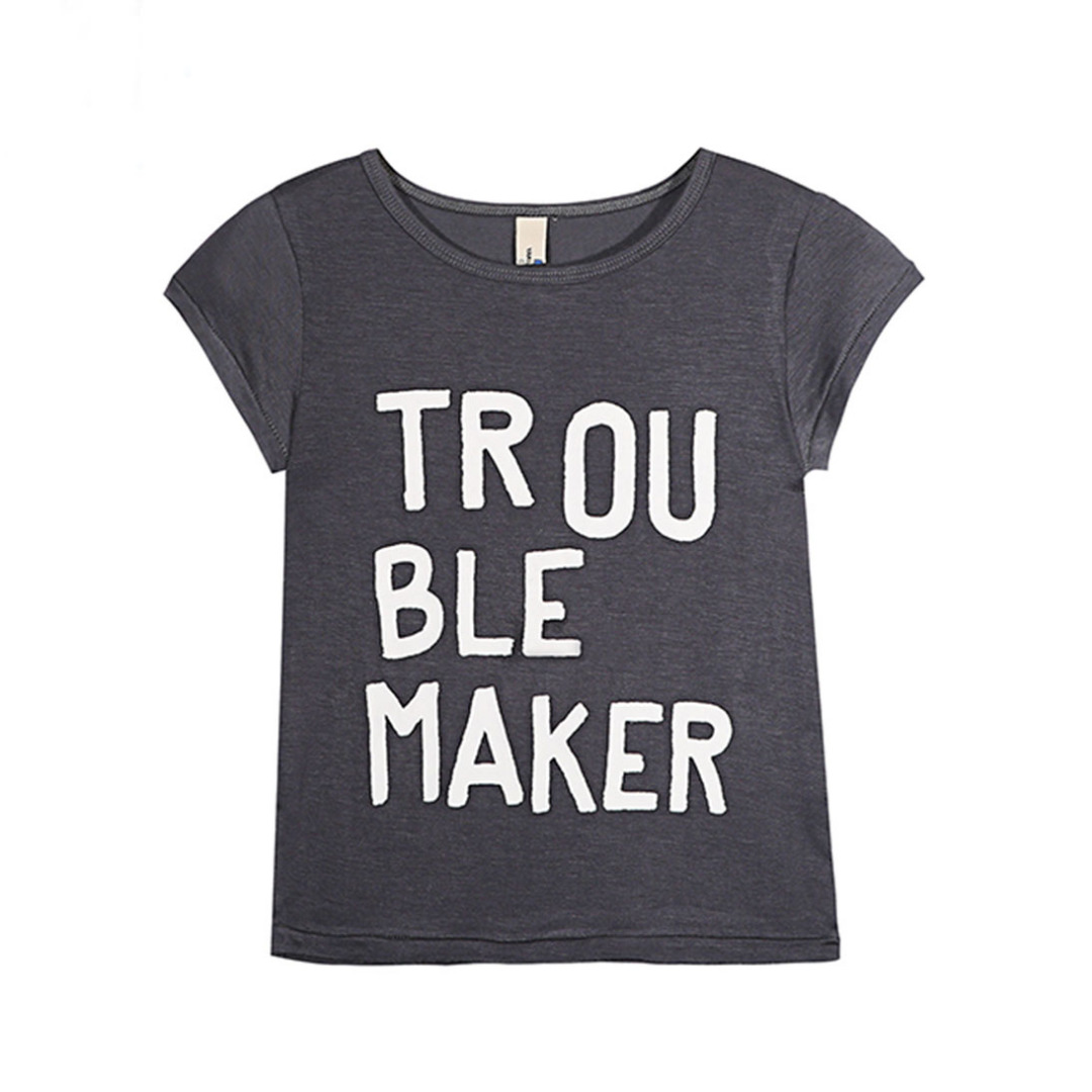 Girl's Grey Cotton Top Trouble-Maker Tee