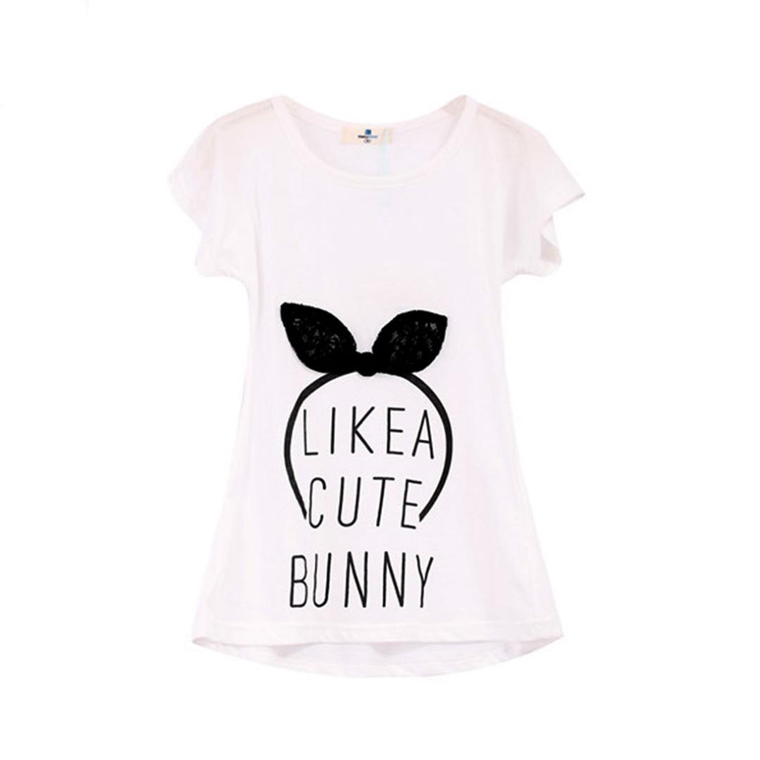 Girl's White Cotton Top Bunny Headband Tee