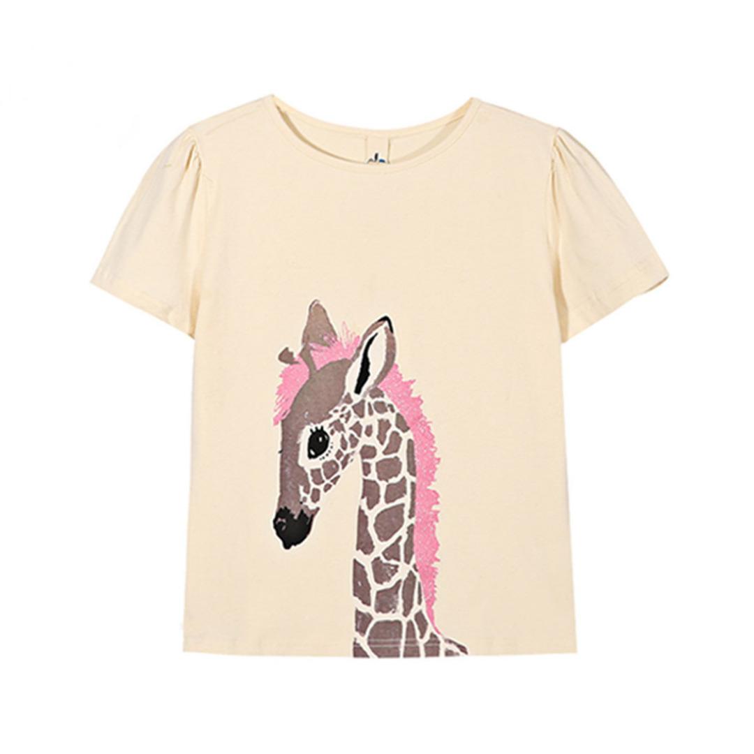 Girl's Cotton Top Giraffe Printed Tee
