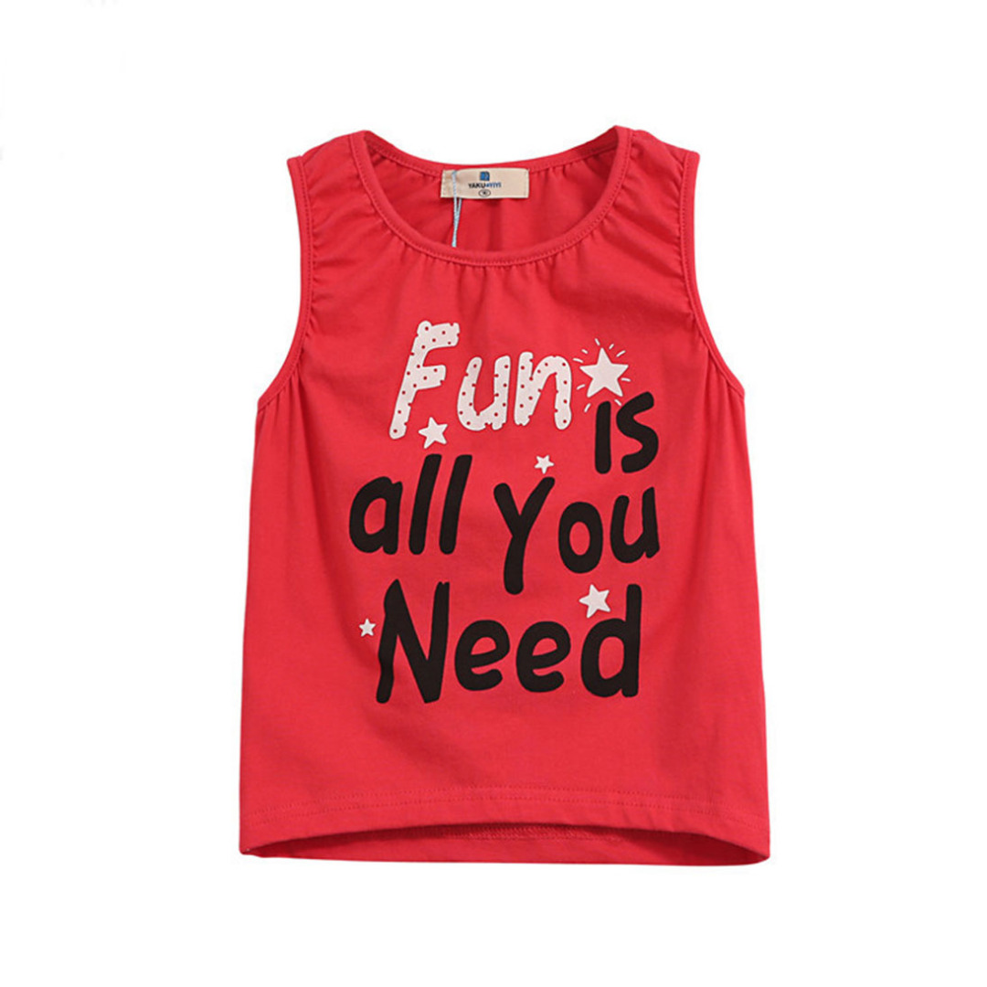 Girl's Red Cotton Top Fun Words Tank