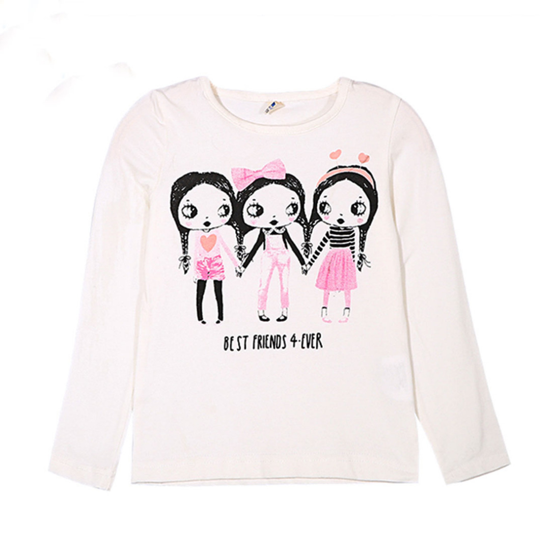 Girl's White Cotton Top Best Friends Forever Long-sleeve Tee