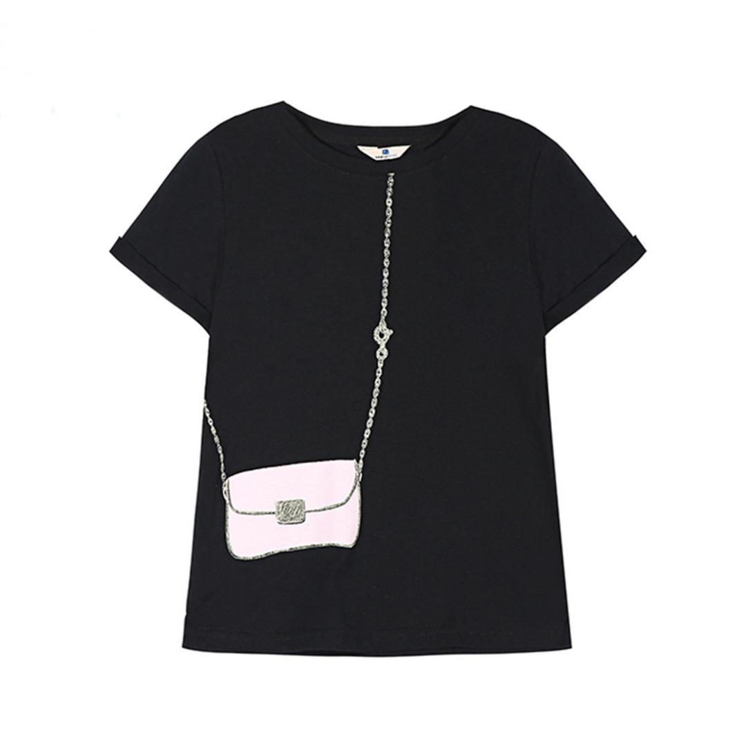 Girl's Black Cotton Top Crossbody Bag Printed Tee