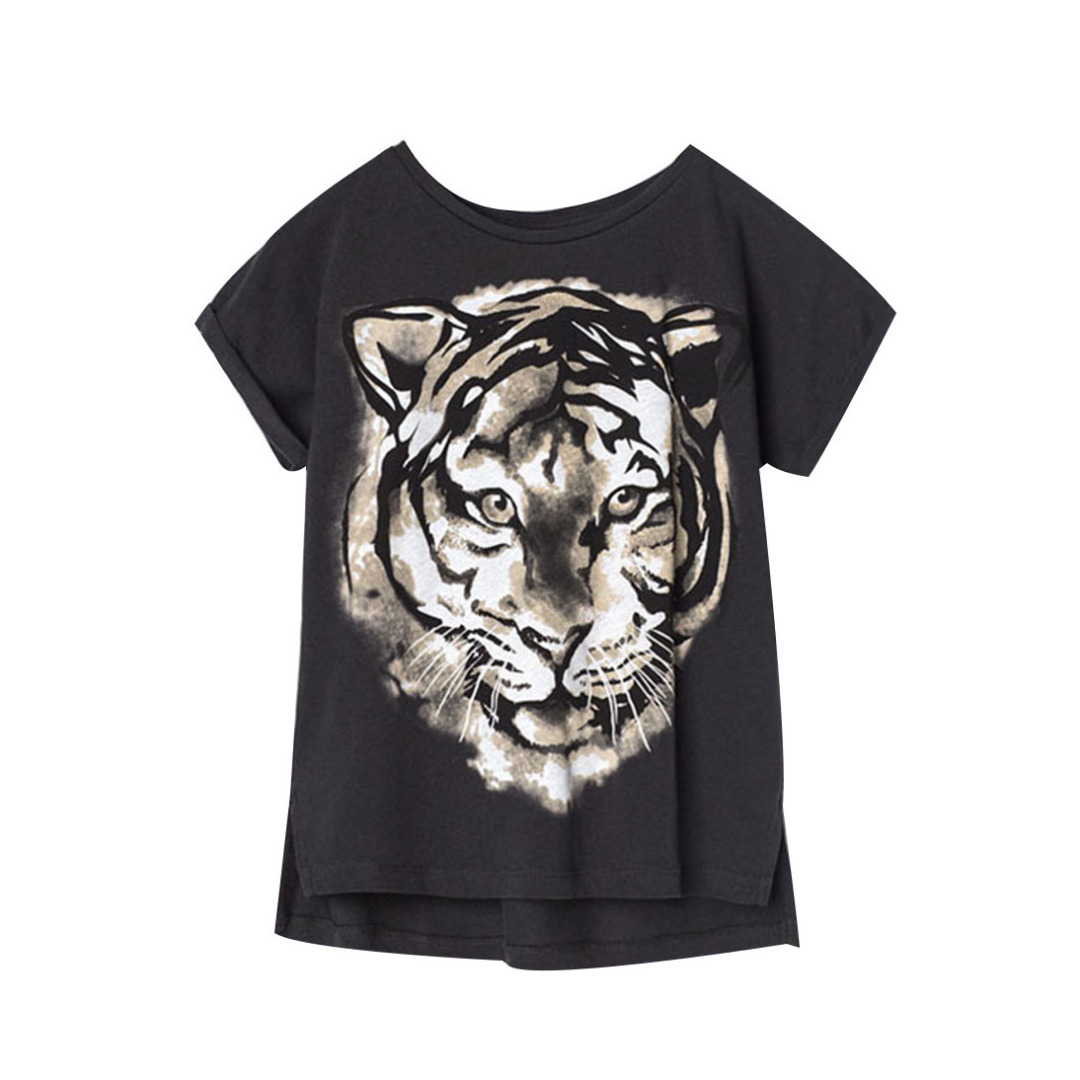 Girl's Black Cotton Top Fierce Tiger Tee