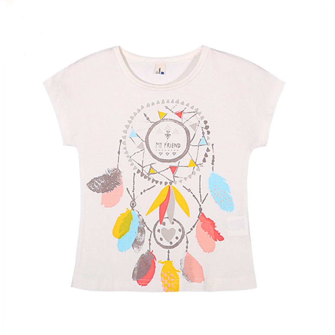 Girl's Cotton Top Boho Feather Tee