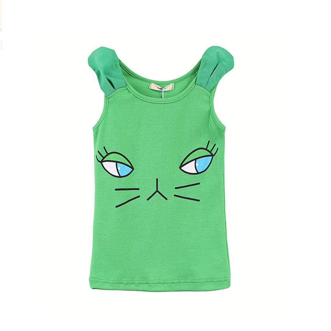 Girl's Cotton Top Cute Kitty Tank in Green