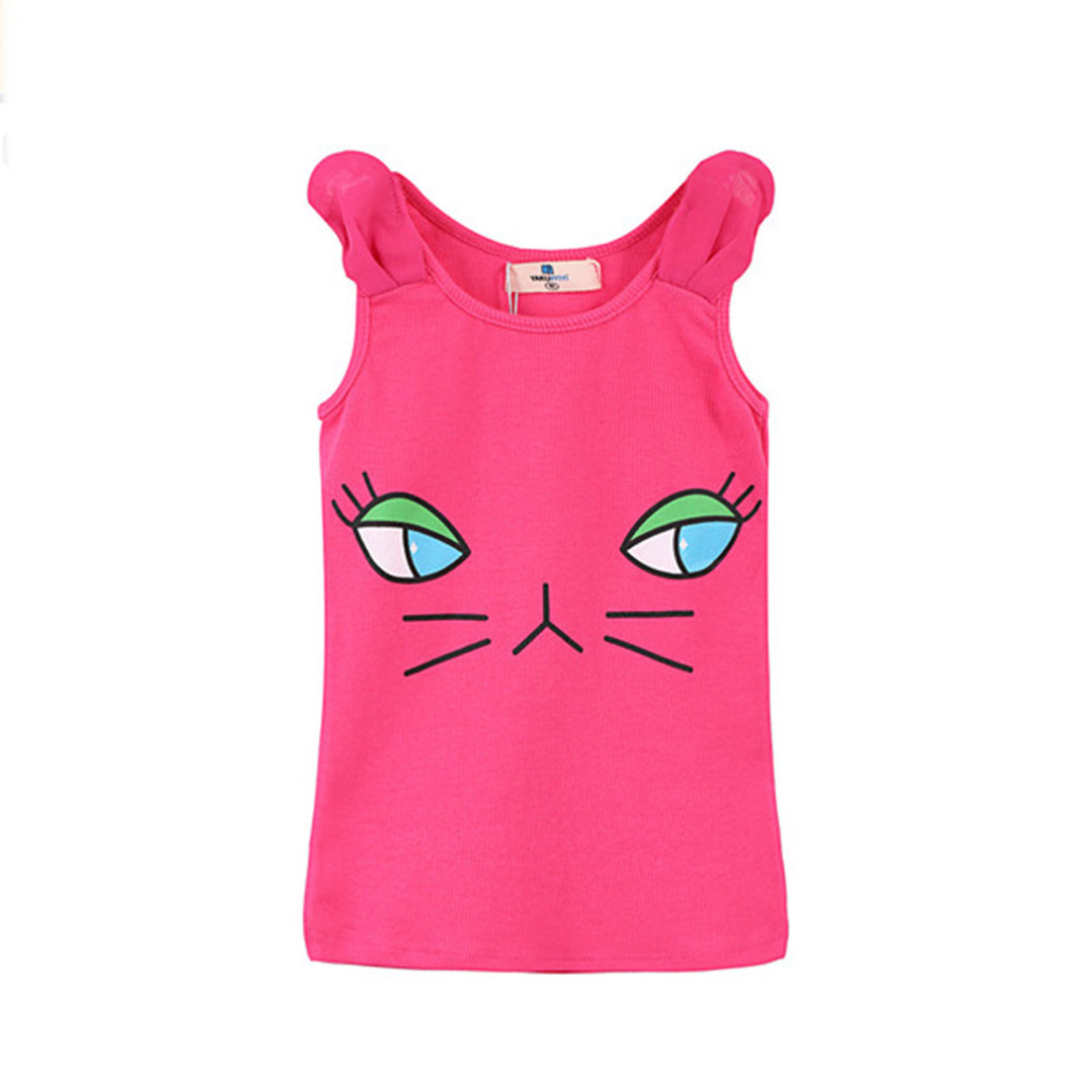 Girl's Cotton Top Cute Kitty Tank in Hot Pink