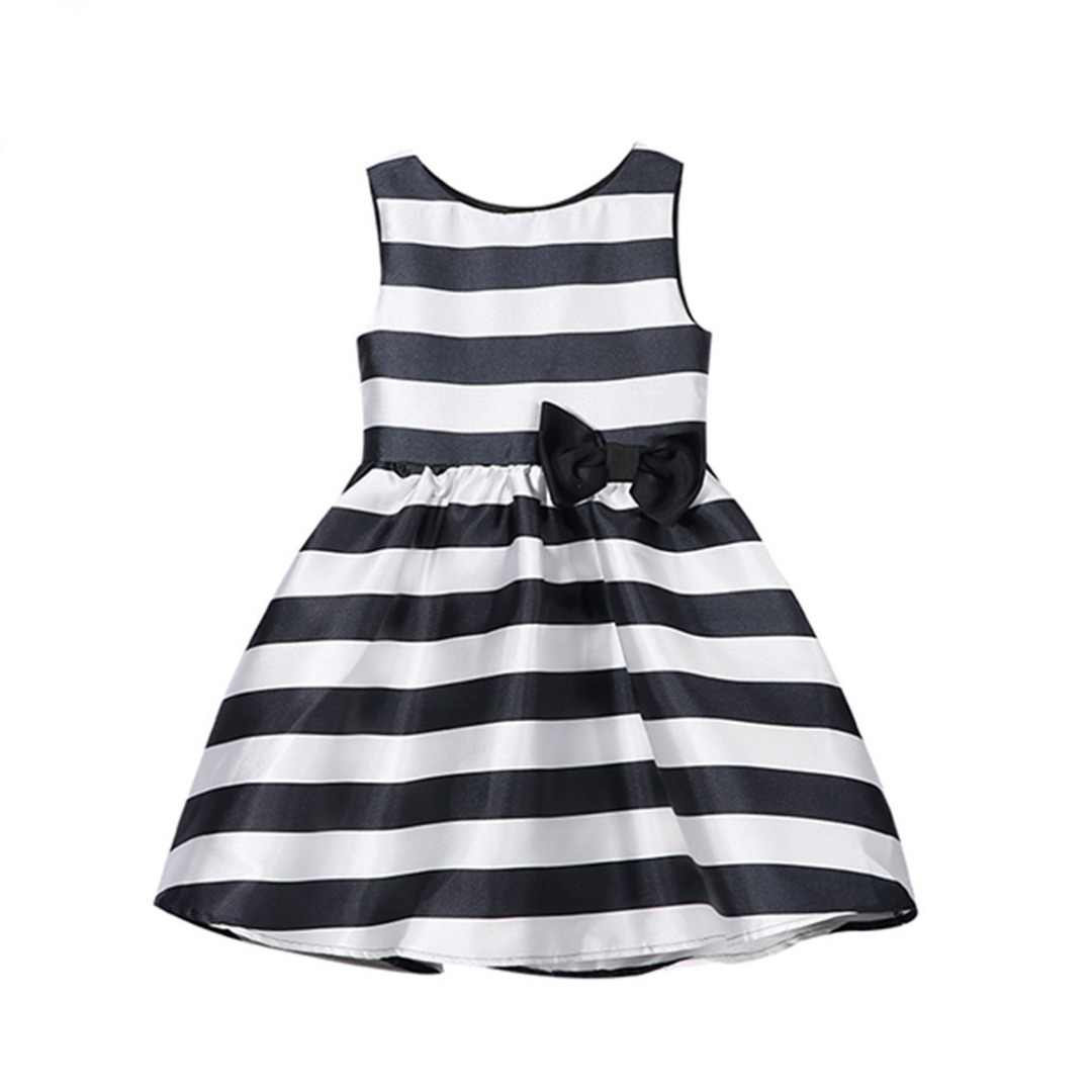 Girl's White-Black Striped Sleeveless Dress with Bowknot Decoration