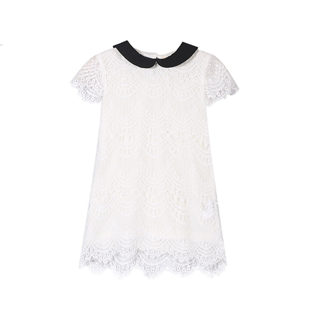 Girl's Cutout Lace-Overlay Dress in White