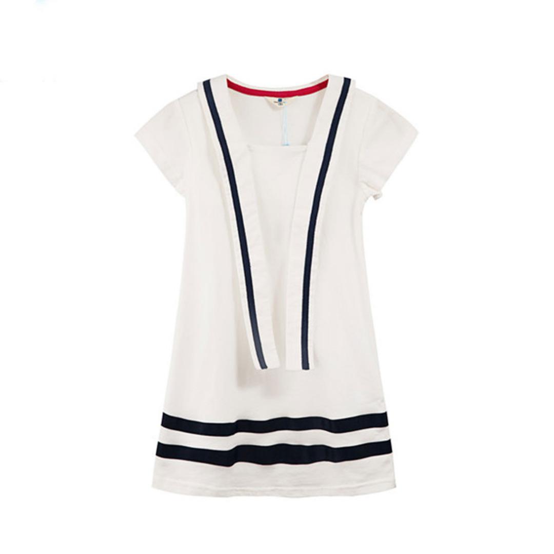 Girl's White Preppy Cotton Dress with Versatile Front Straps