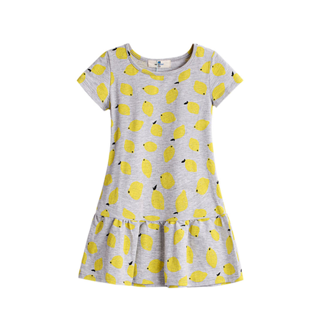 Girl's Lemon Printed Cotton Dress in Grey