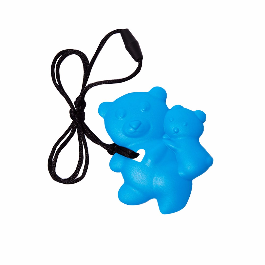 Lovely Deep Sky-blue Teddy-bear Silicone Teething Necklace --Baby Teether Relief & Durable