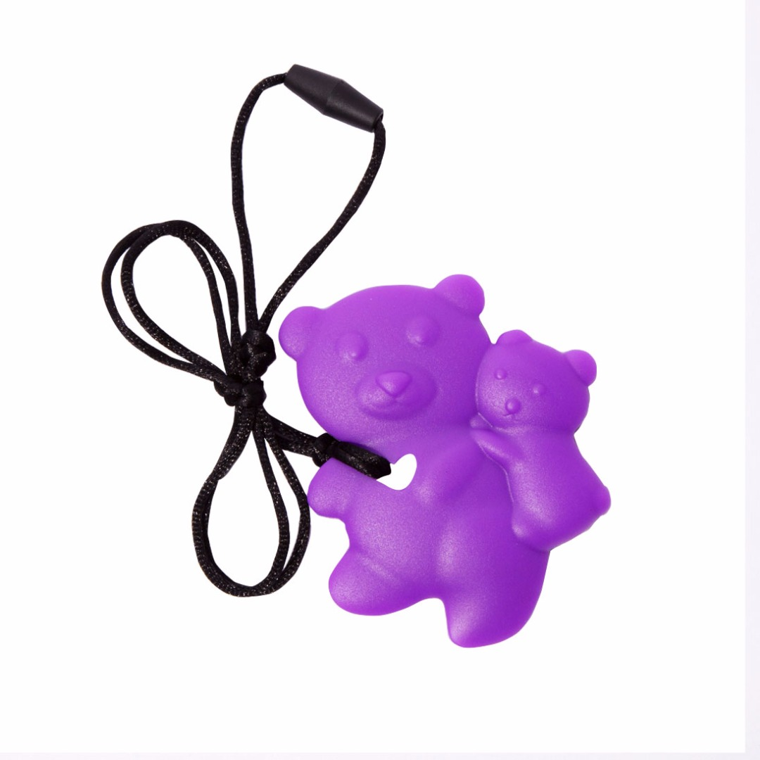 Lovely Lavender Teddy-bear Silicone Teething Necklace --Baby Teether Relief & Durable