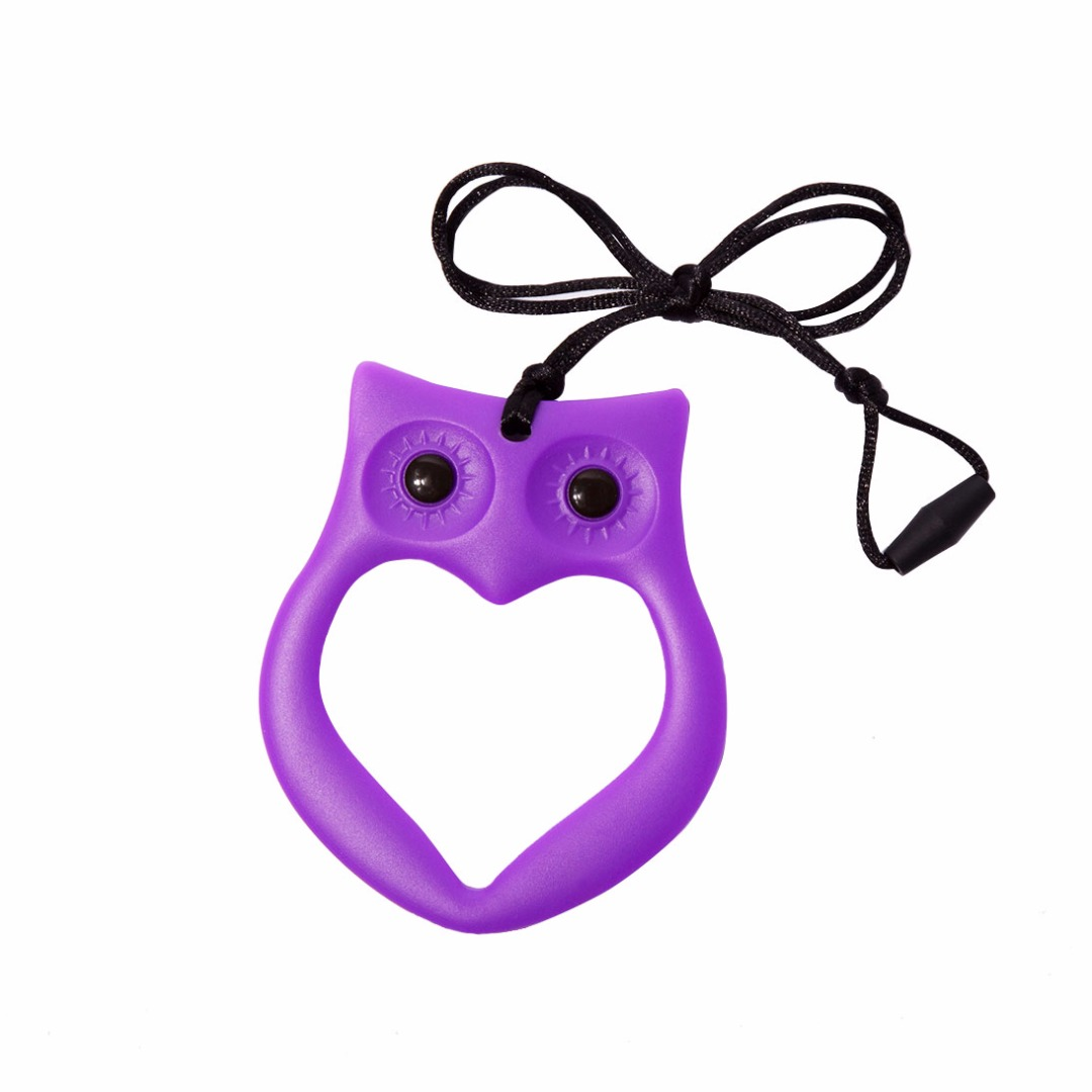 Cuddly Lavender Owl Silicone Teething Necklace --Baby Teether Relief & Durable