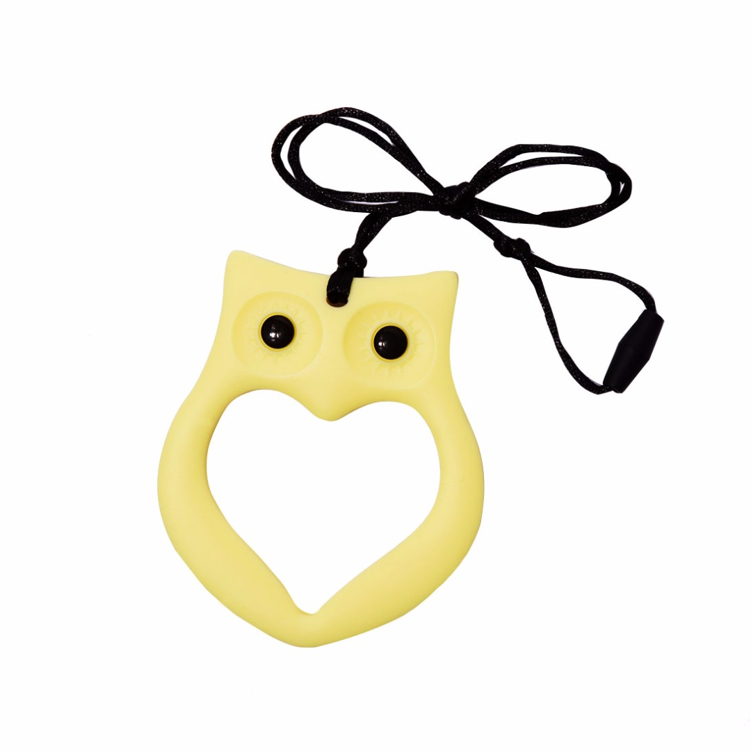 Cuddly Cream-yellow Owl Silicone Teething Necklace --Baby Teether Relief & Durable