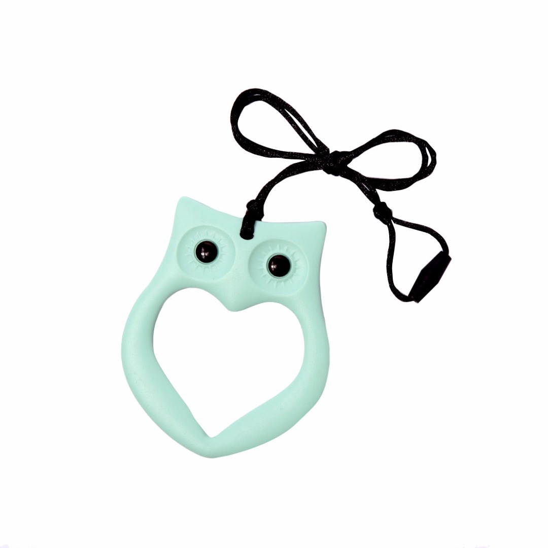 Cuddly Mint-green Owl Silicone Teething Necklace --Baby Teether Relief & Durable
