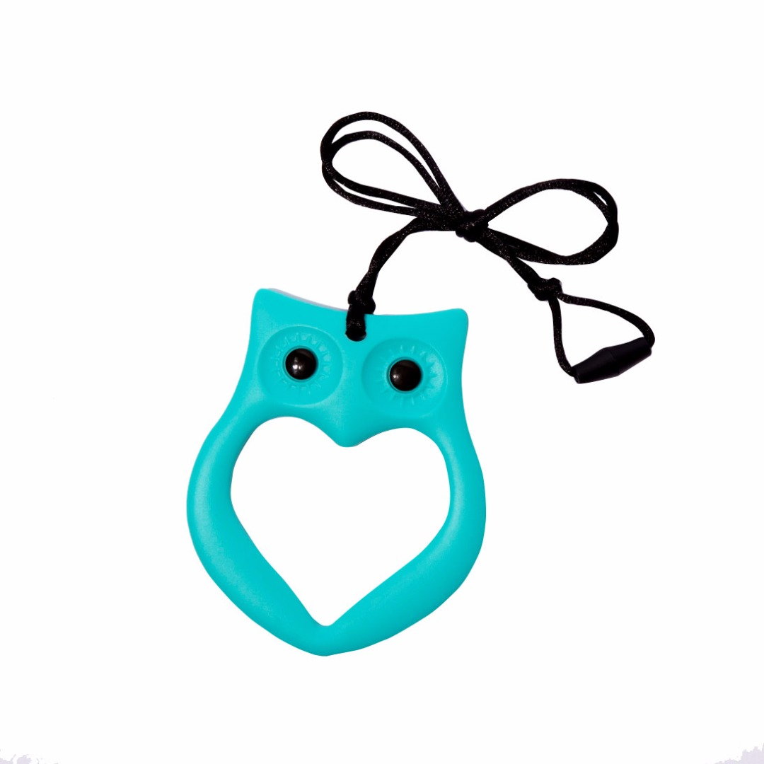 Cuddly Turquoise Owl Silicone Teething Necklace --Baby Teether Relief & Durable