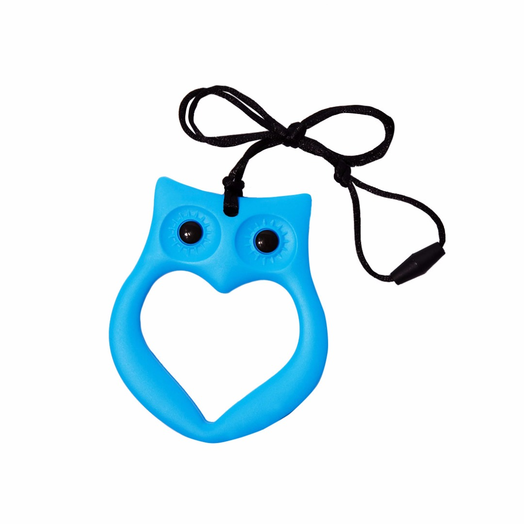 Cuddly Sky-blue Owl Silicone Teething Necklace --Baby Teether Relief & Durable