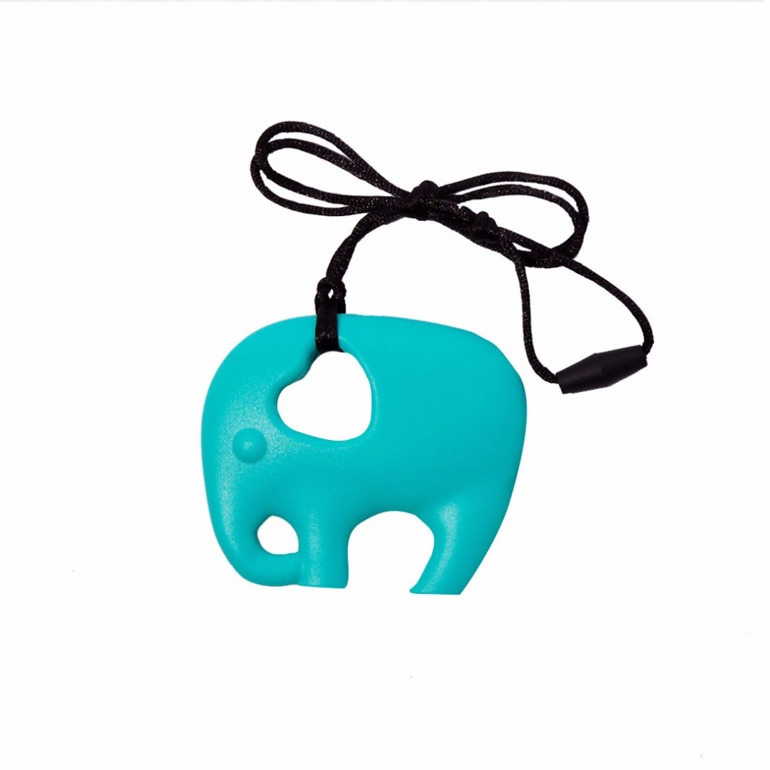 Green Elephant Teething Necklace --Baby Teether Relief & Durable
