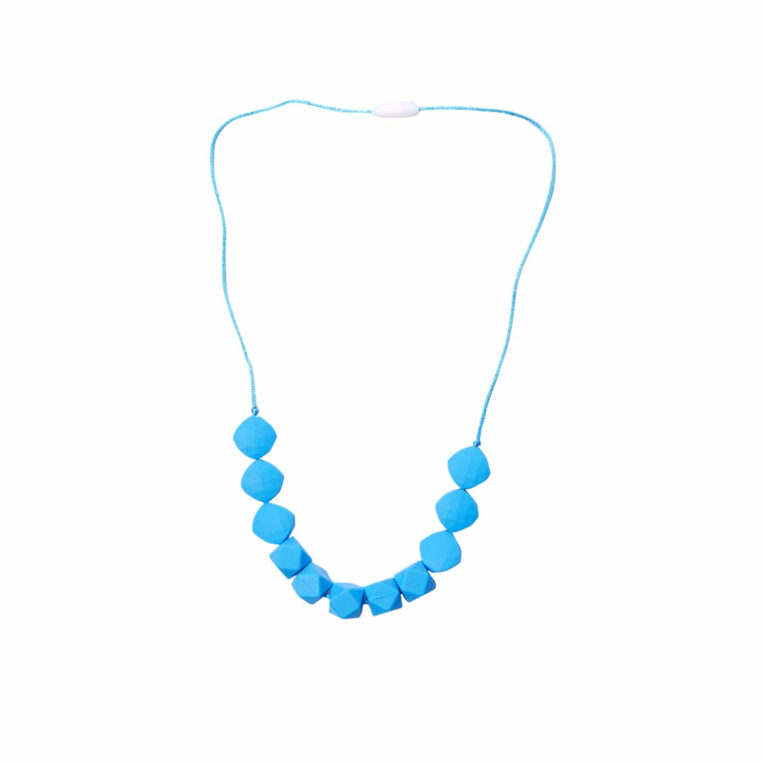 Deep-sky-blue Teething Necklace --Baby Teether Relief & Durable