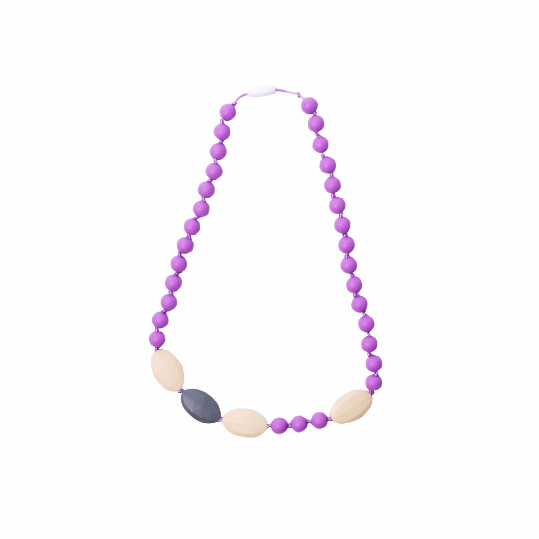 Purple Teething Necklace --Baby Teether Relief & Durable