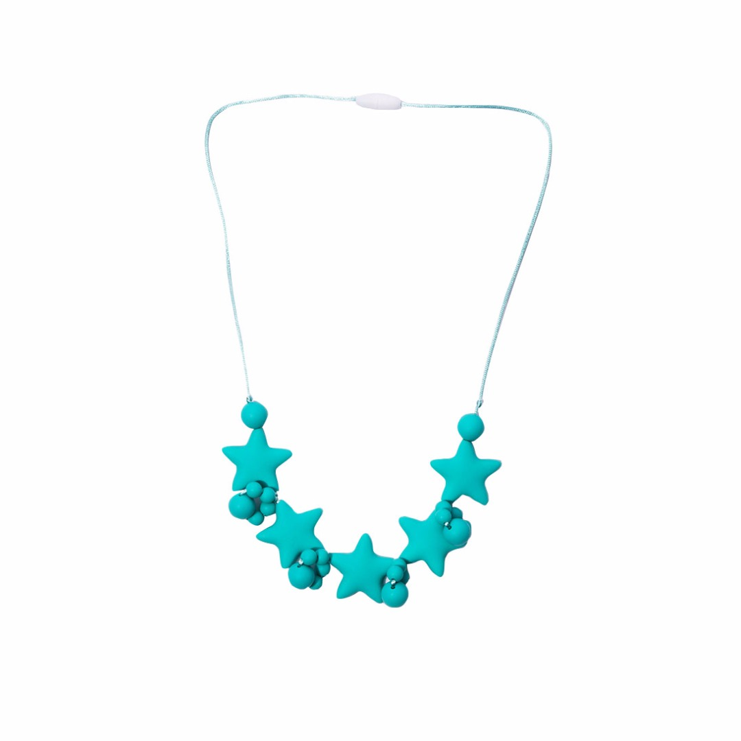 Green Stars Teething Necklace --Baby Teether Relief & Durable