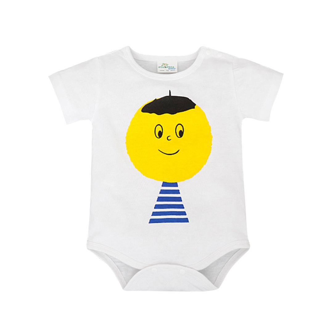 Baby's Big Head Boy Cotton Bodysuit in White (Unisex)