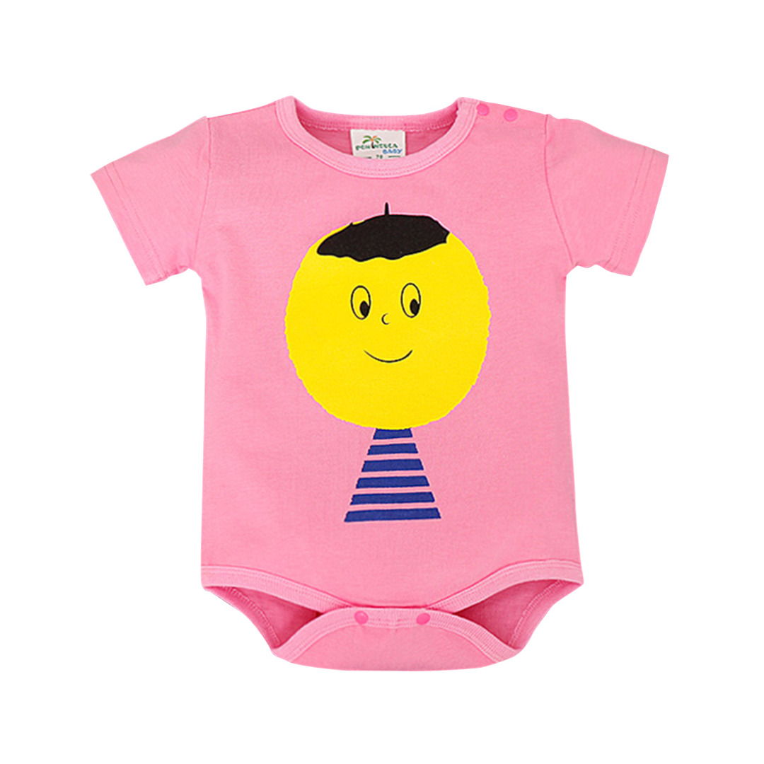 Baby Girl's Big Head Boy Cotton Bodysuit in Pink