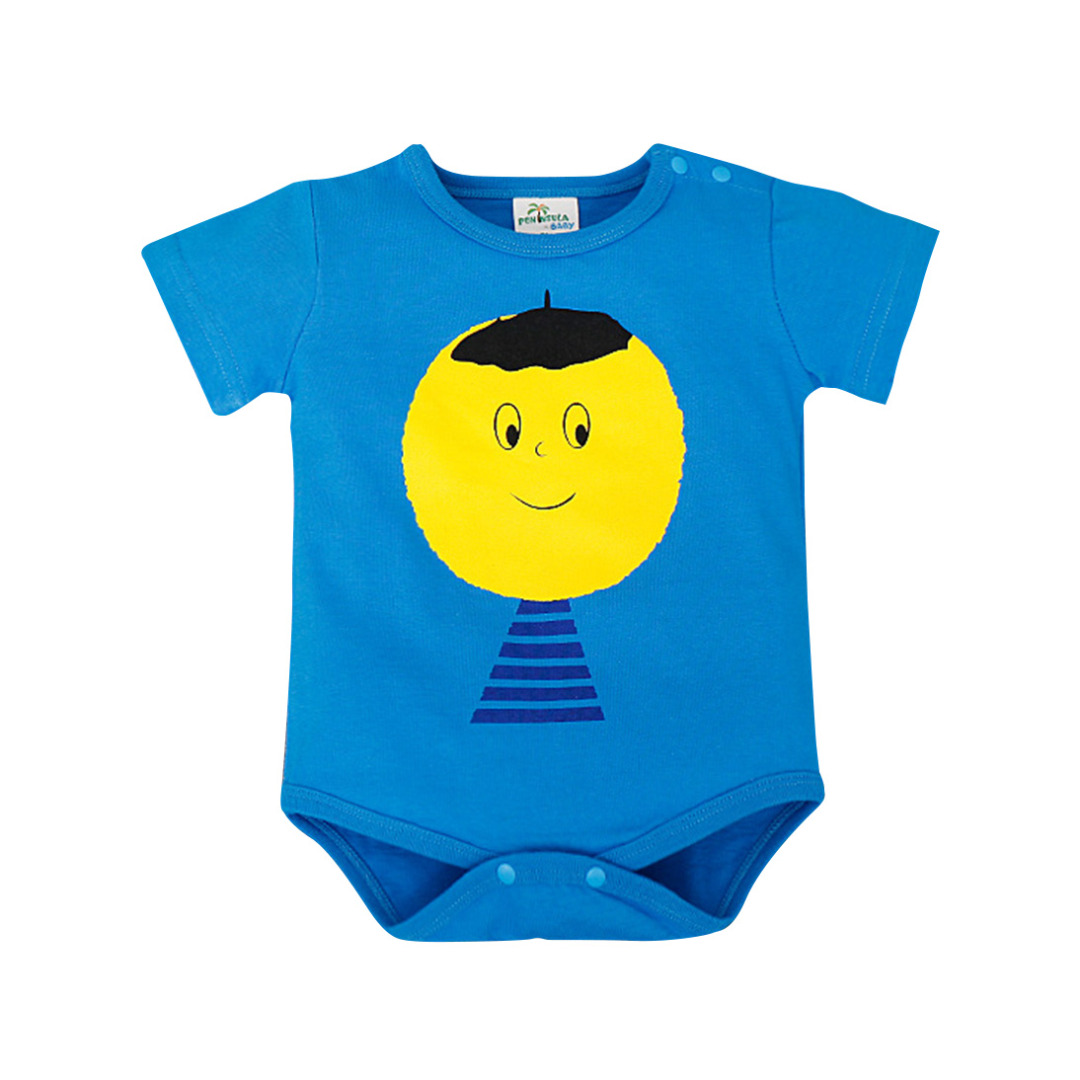 Baby Boy's Big Head Boy Cotton Bodysuit in Blue