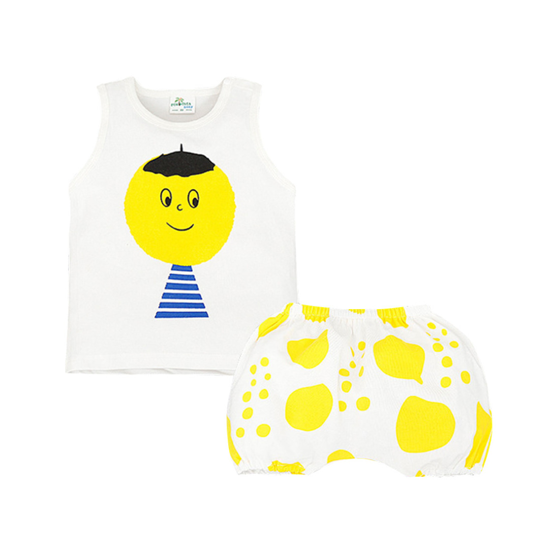 Baby/Kid's Cute Big Head Boy Printed Cotton Tank/Top & Pants/Bottom Set (Unisex)