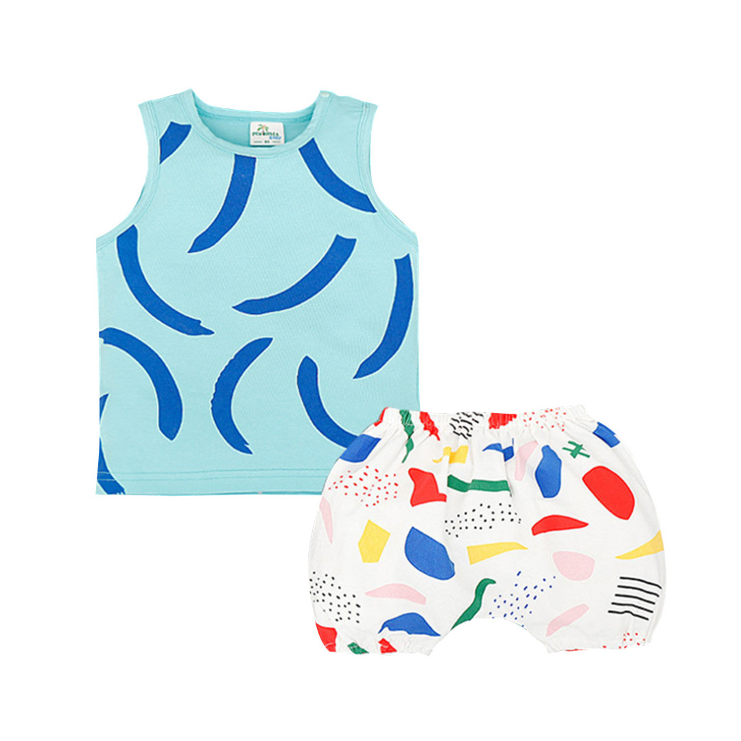 Baby/Kid's Blue Printed Cotton Tank/Top & Colorful Printed Pants/Bottom Set (Unisex)