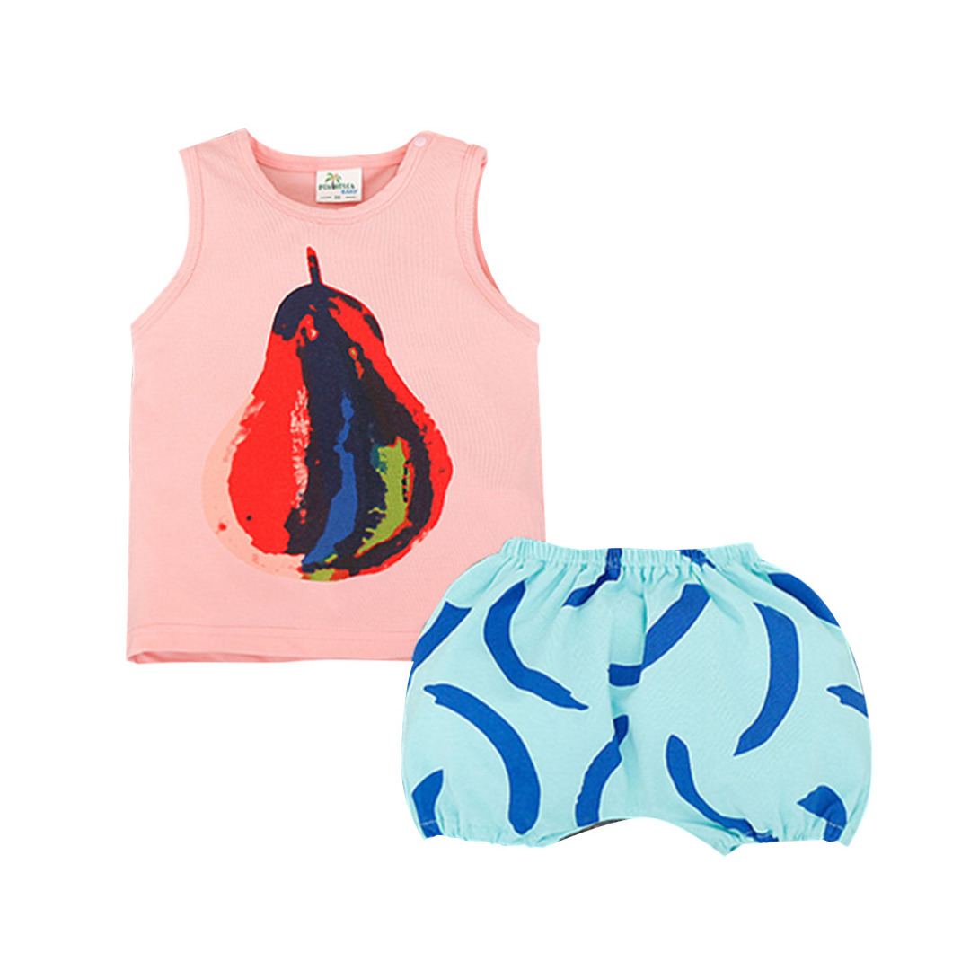 Baby/Kid's Pink Printed Cotton Tank/Top & Blue Printed Pants/Bottom Set (Unisex)