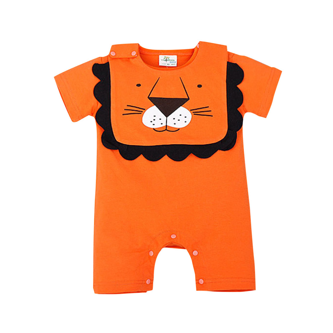 Baby's Cute Lion Printed Cotton One Piece in Orange (Unisex)