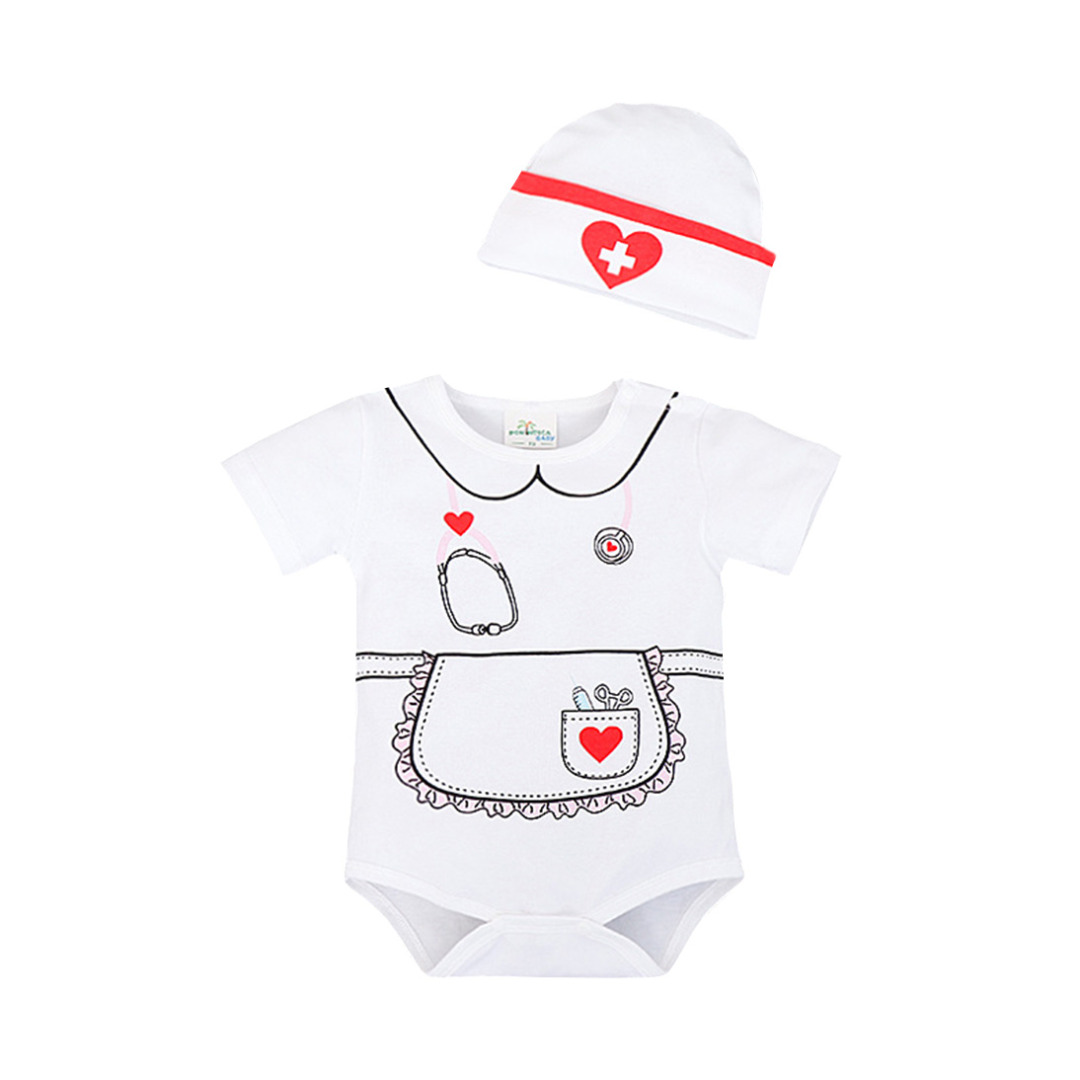 Baby Girl's Playful Nurse Dress-Up Cotton Bodysuit & Hat Set in White