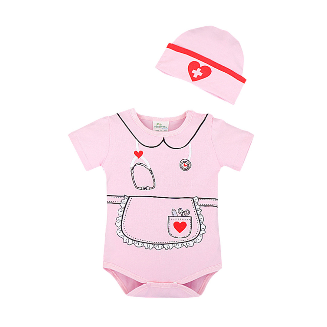 Baby Girl's Playful Nurse Dress-Up Cotton Bodysuit & Hat Set in Pink