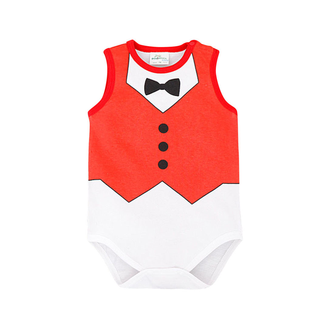 Baby's Little Gentleman Sleeveless Cotton Bodysuit in Red (Unisex)