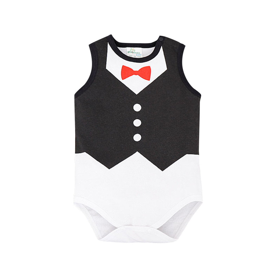 Baby's Little Gentleman Sleeveless Cotton Bodysuit in Black (Unisex)