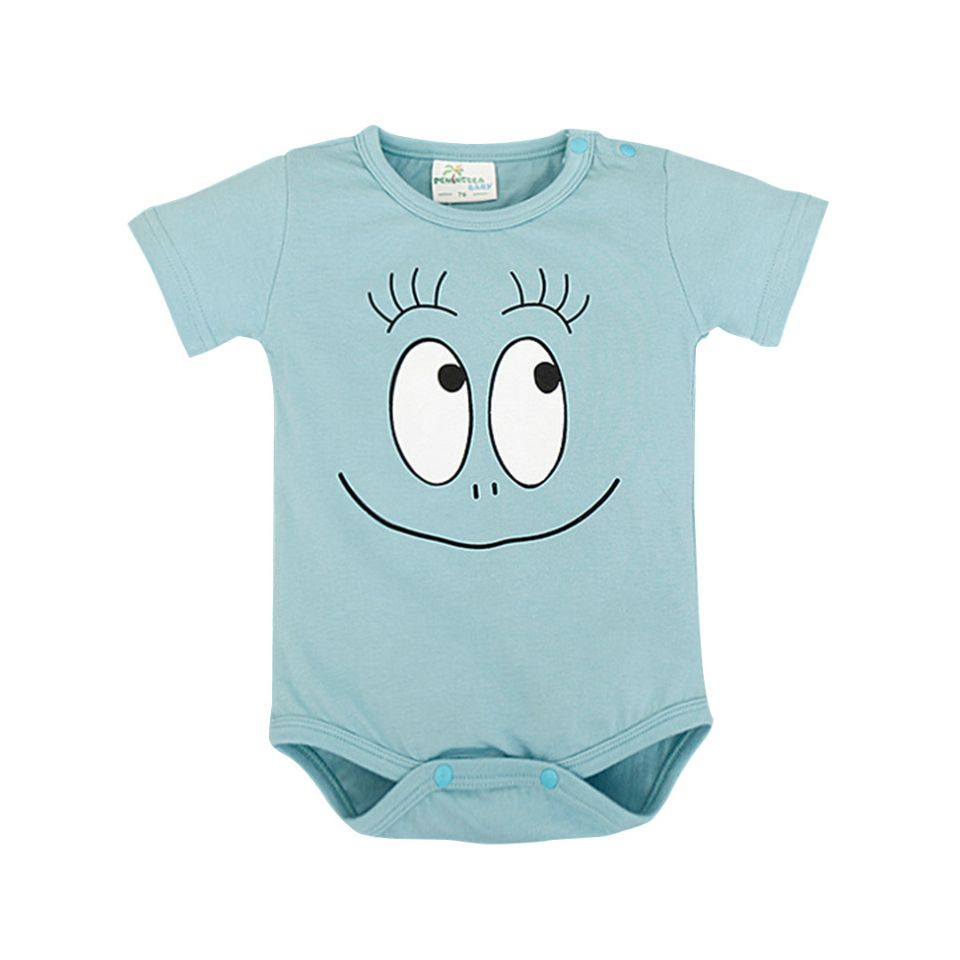 Baby's Funny Face Cotton Bodysuit in Blue (Unisex)