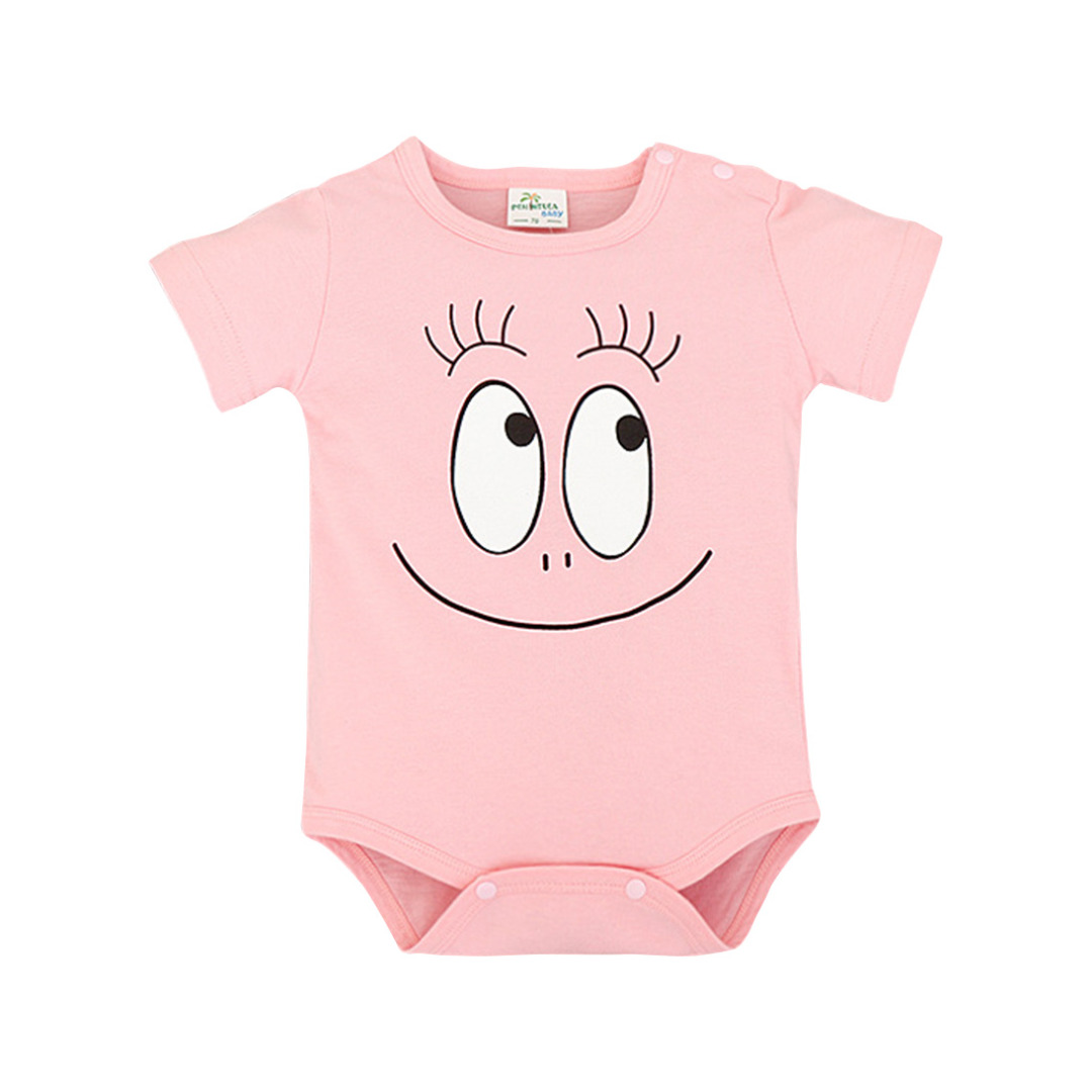 Baby's Funny Face Cotton Bodysuit in Pink (Unisex)