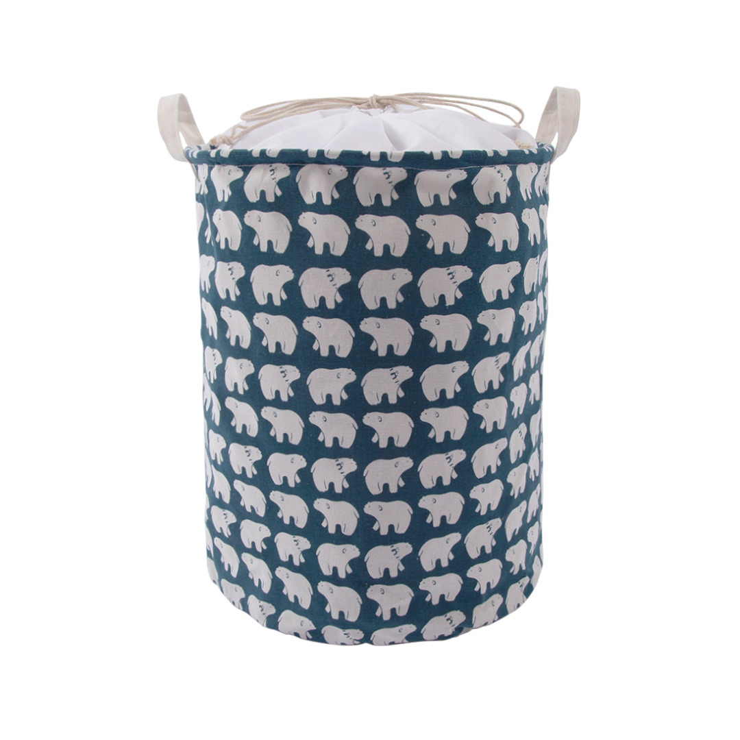 Cute Polar Bear Pattern Collapsible Storage Bag Laundry Hamper