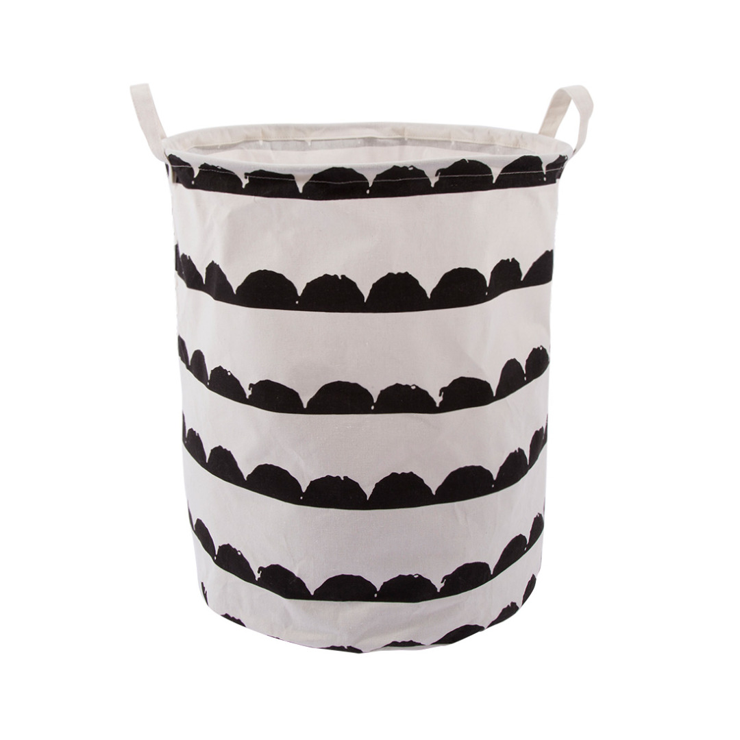 Monochrome Geometric Linen Storage Bag Laundry Hamper with Handles